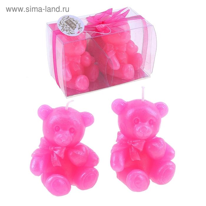 """Свечи восковые (набор 2 шт) """"Медведица"""", цвет розовый"""