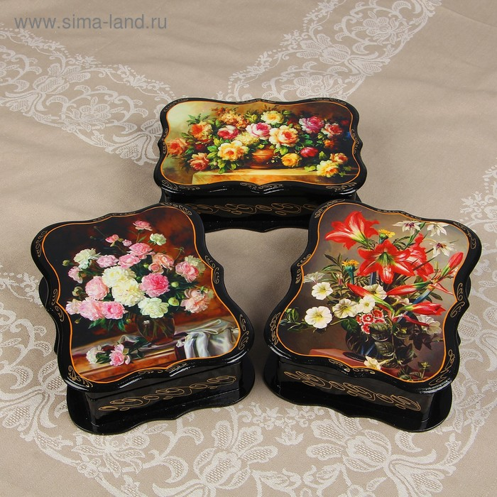 Шкатулка «Цветы», 23х17 см, лаковая миниатюра, микс