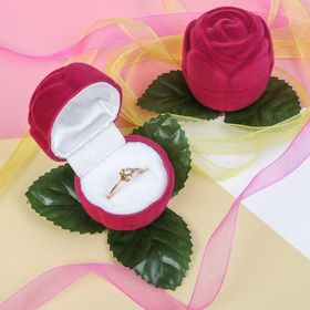 Футляр под кольцо 'Роза', 5*5*5, цвет розовый, вставка белая Ош
