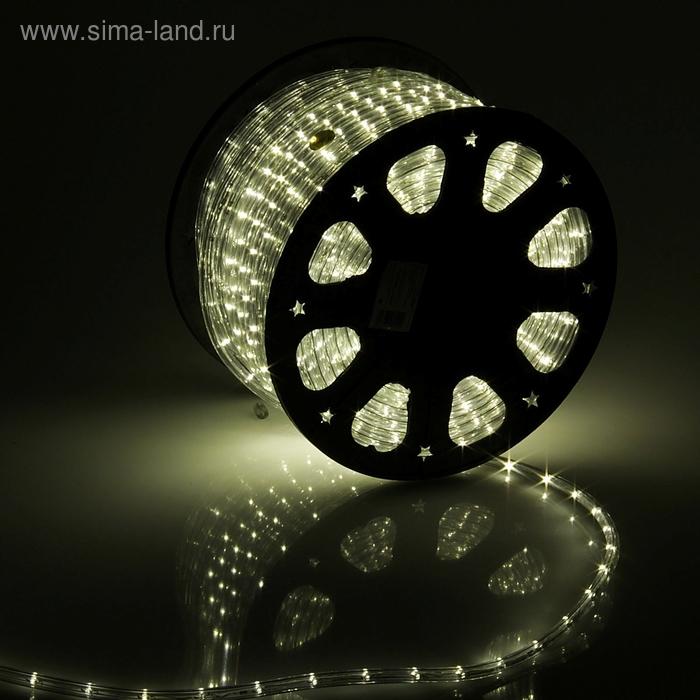 LED шнур 11 мм, круглый, 100 м, фиксинг, 2W-LED/м-24-220V в компл. набор д/подкл. Тепл. Бел.