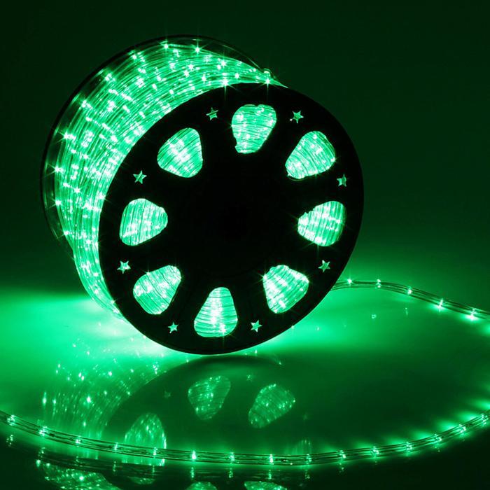 LED шнур 11 мм, круглый, 100 м, фиксинг, 2W-LED/м-24-220V, в компл. набор д/подкл. Зеленый