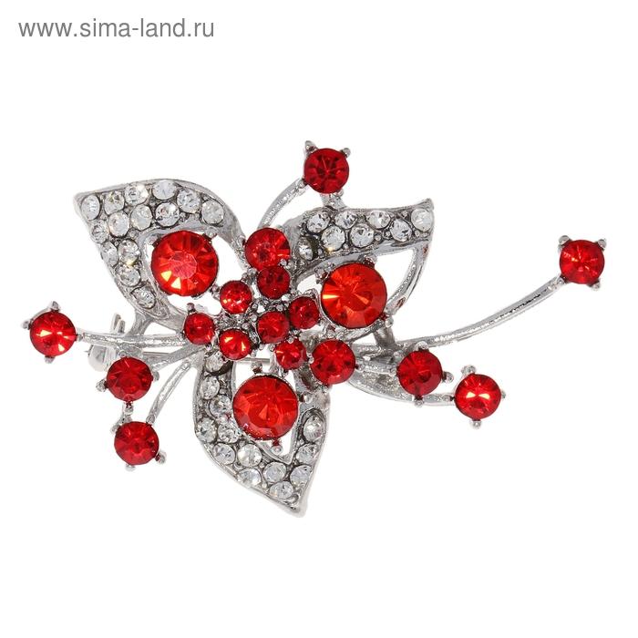 """Брошь """"Цветок"""" лилия цвет красно-белый в серебре"""