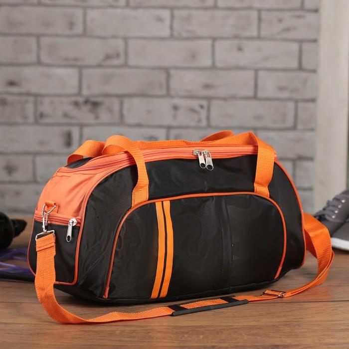 Сумка спортивная на молнии, 1 отдел, 3 наружных кармана, длинный ремень, чёрный/оранжевый