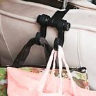 Вешалка с крючком для сумки, с креплением на подголовнике, чёрная