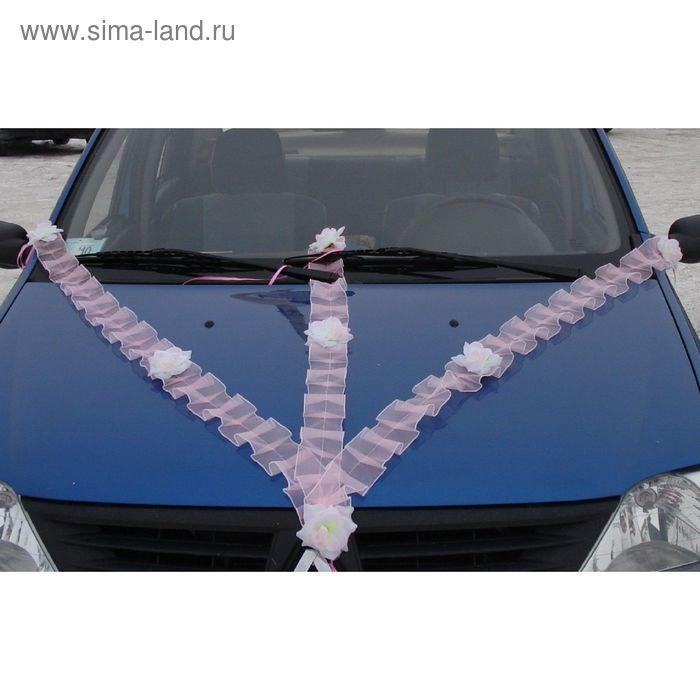 Набор лент на капот с цветами из органзы: 2 ленты 10х150 см / 10х120 см, розовые