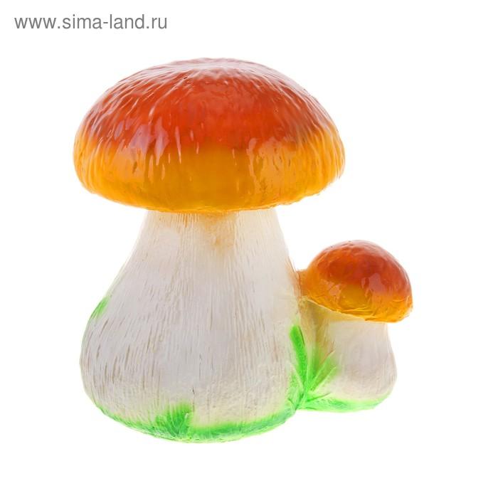 """Садовая фигура """"Пара грибов"""" большая, коричнево-жёлтая шляпка"""