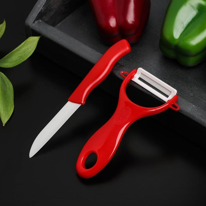Набор из ножа и овощечистки с керамическим лезвием, МИКС