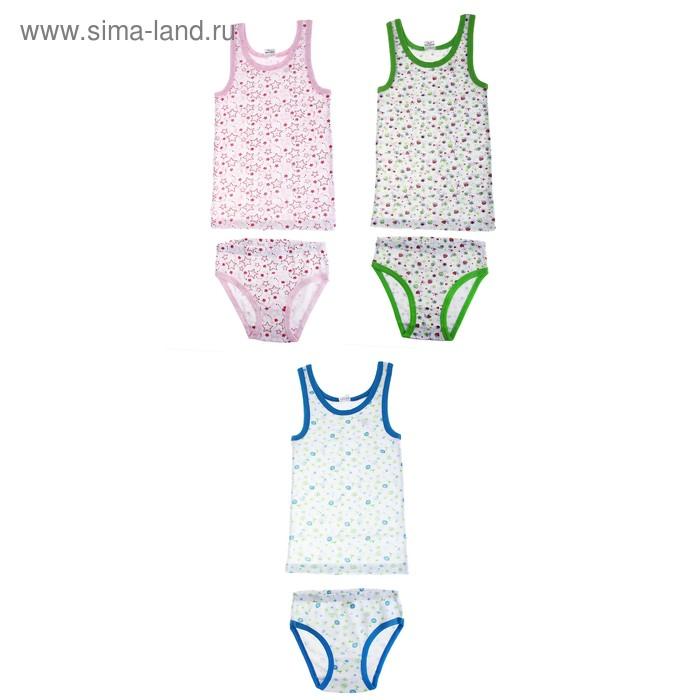Комплект для девочки: майка+трусы, рост 122-128 (7 лет), цвета МИКС