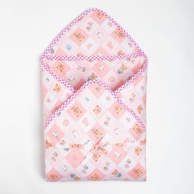 """Конверт для новорождённого """"Мишка"""" на завязках, тёплый, цвета МИКС"""