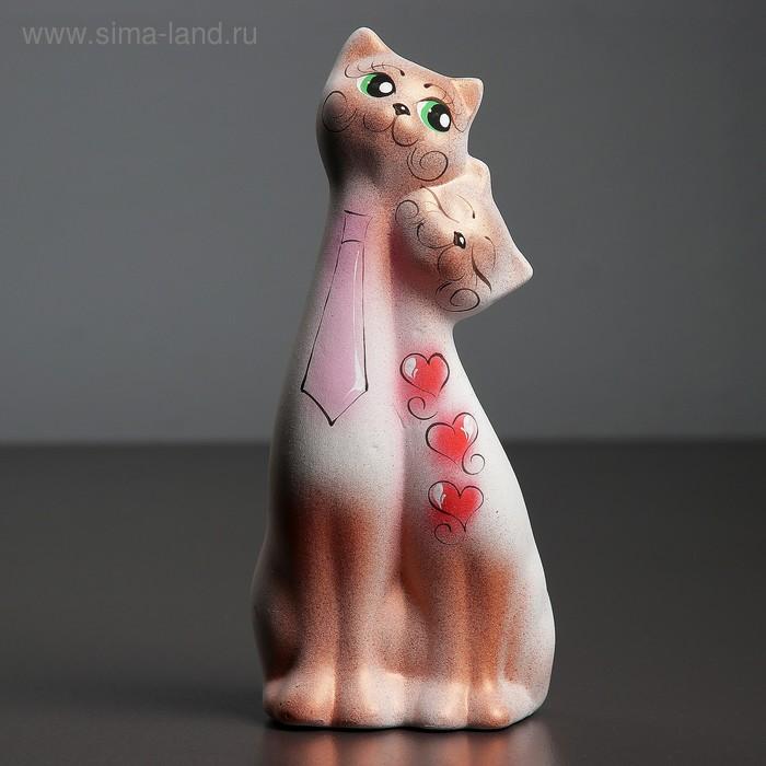 """Сувенир """"Love Коты"""" галстук и сердечко белые с медью"""