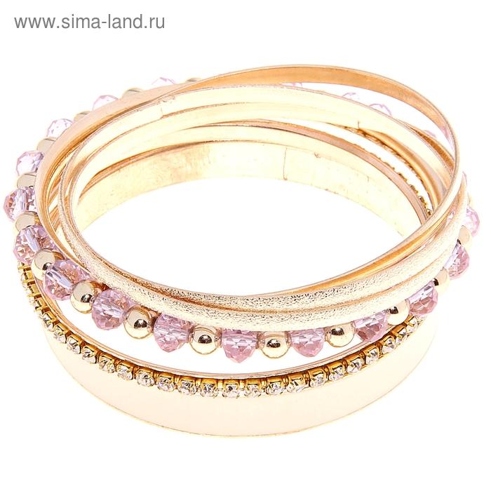 """Браслет-кольца 6 колец """"Бурлеск"""" широкий, цвет розовый в золоте"""