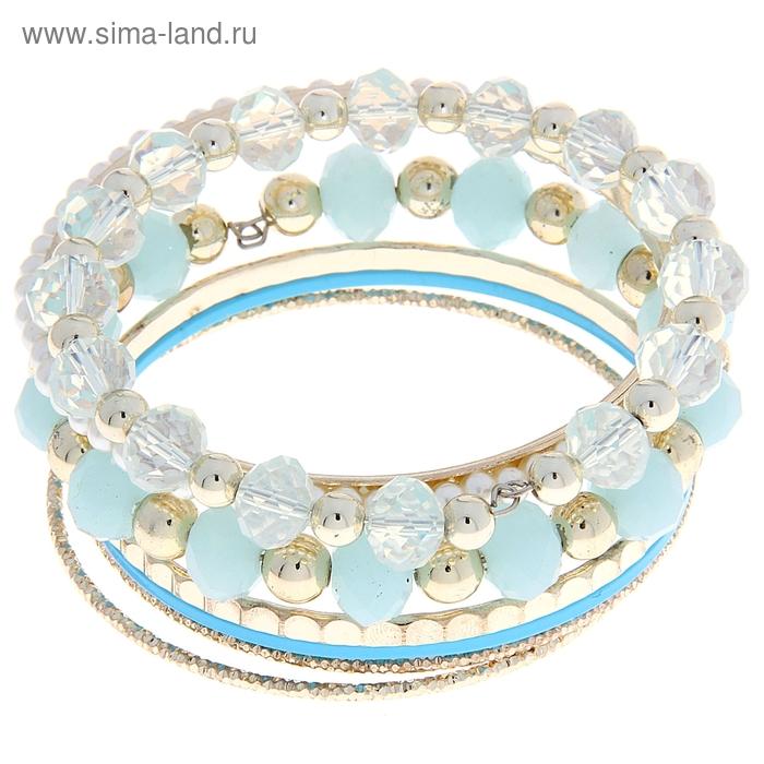 Браслет-кольца 8 колец Moon, цвет нежно-голубой