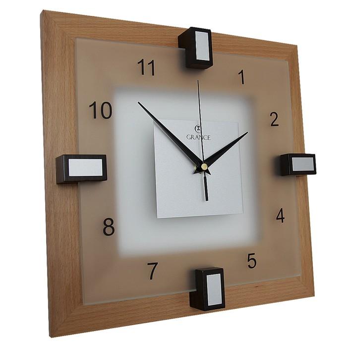"""Часы настенные деревянные застекленный """"Grance"""", арабские цифры"""