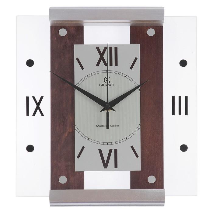"""Часы настенные деревянные застекленный """"Grance"""", римские цифры"""