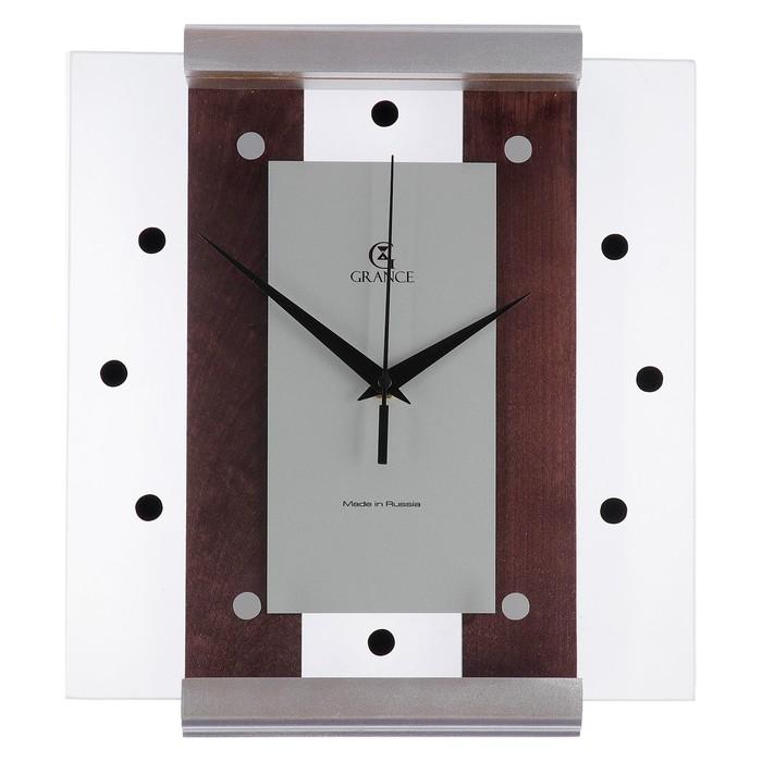 """Часы настенные деревянные застекленные """"Grance"""", цвет серебро"""
