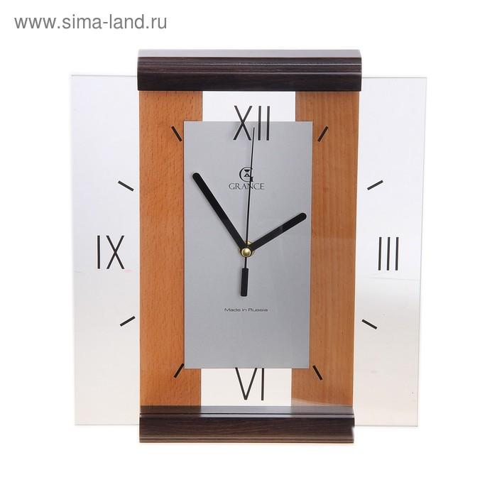 """Часы настенные деревянные застекленные """"Grance"""", римские цифры, светлое и темное дерево"""