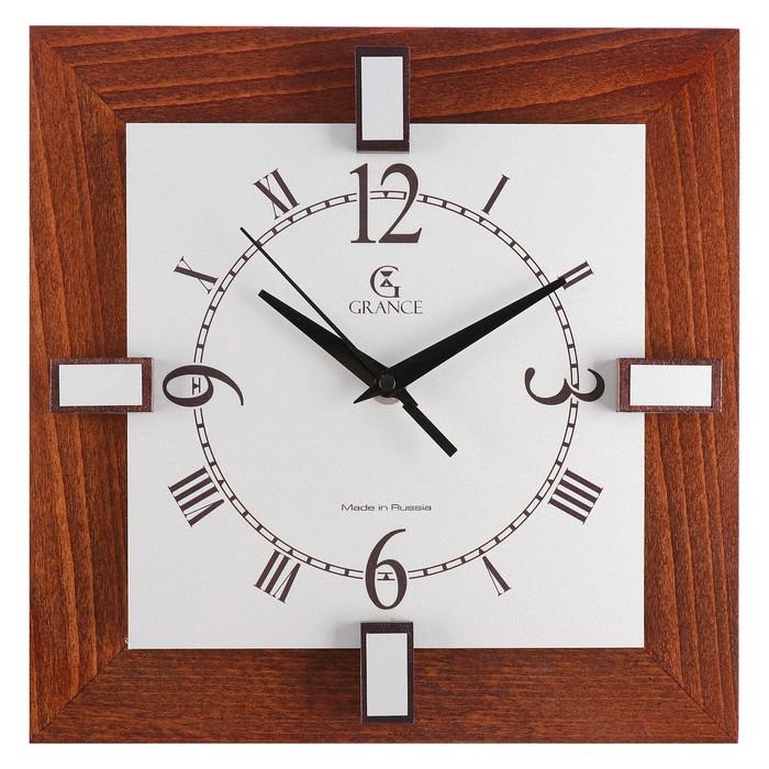 """Часы настенные деревянные квадратные """"Grance"""", арабский циферблат"""