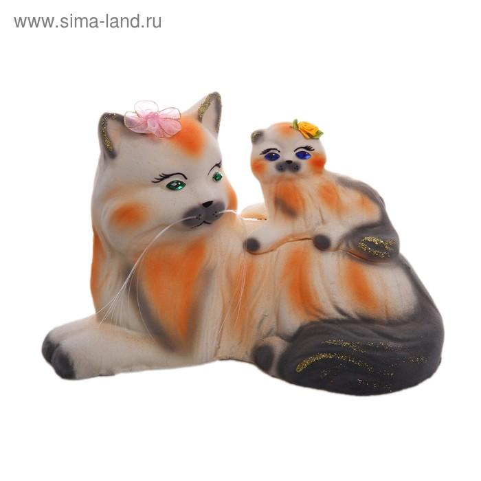 """Копилка """"Кошка с котёнком"""" флок, белая, рыжие полосы"""