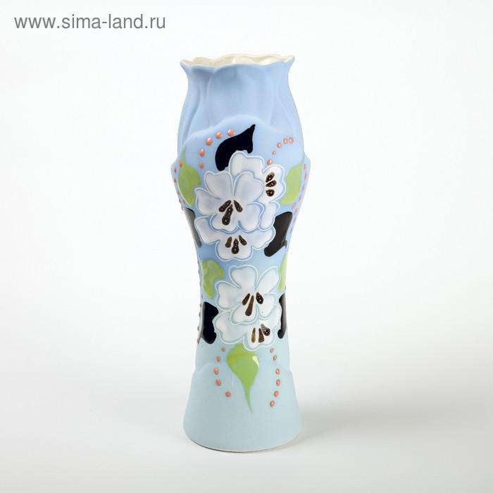 """Ваза """"Азалия"""" белые цветы, глазурь, зелёная"""