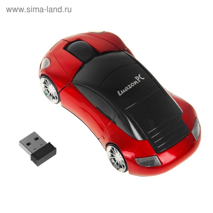 """Мышь оптическая беспроводная """"Машина"""", красная, USB"""