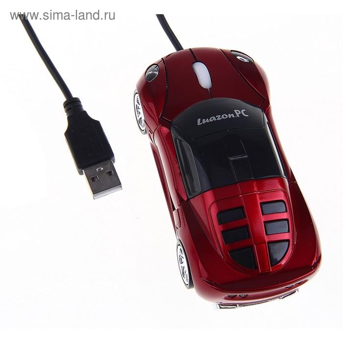 """Мышь оптическая проводная """"Машинка"""", красная, USB"""