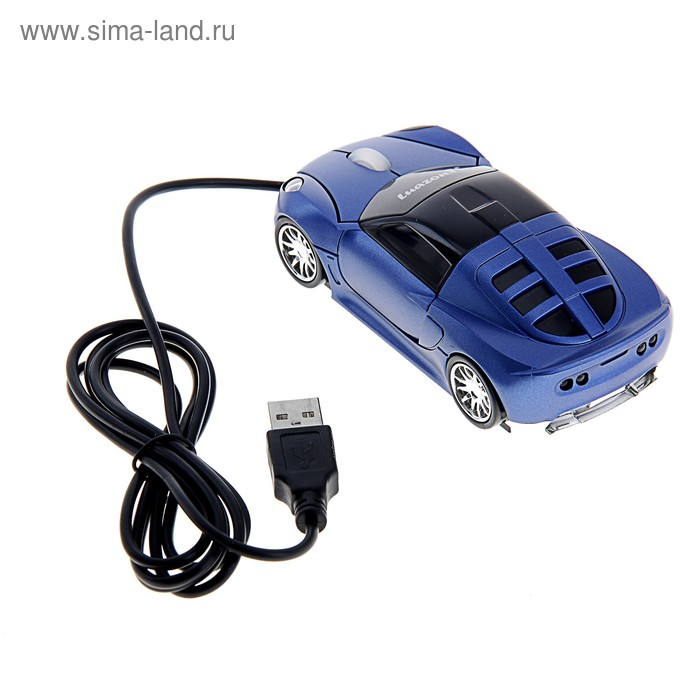 """Мышь оптическая проводная """"Машинка"""", синяя, USB"""