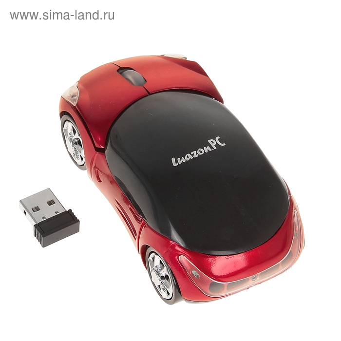 """Мышь оптическая беспроводная """"Машинка"""", красная, USB"""
