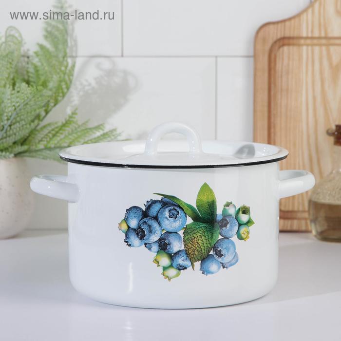 """Кастрюля эмалированная 3 л """"Овощи"""", декор МИКС"""