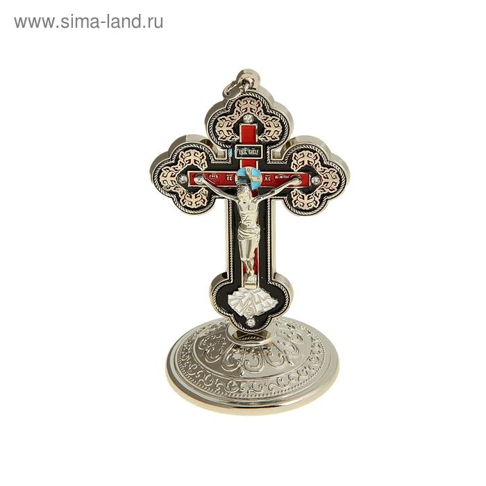 Крест на подставке красная и черная заливка 9 x 5.5 x 5.5 см
