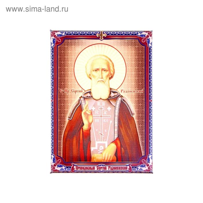 """Икона холст """"Преподобный Сергий Радонежский"""" на подвесе"""