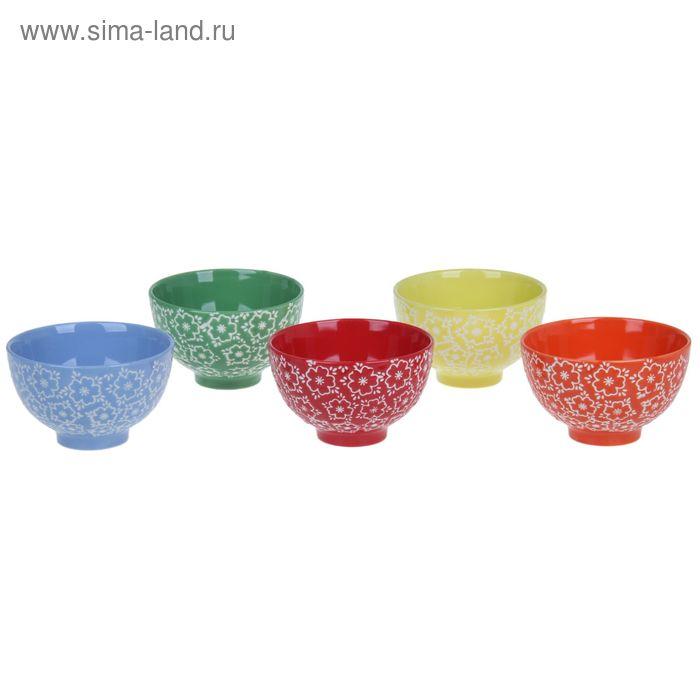 """Набор салатников """"Цветочки"""", 5 штук 350 мл, 11,5*7 см"""