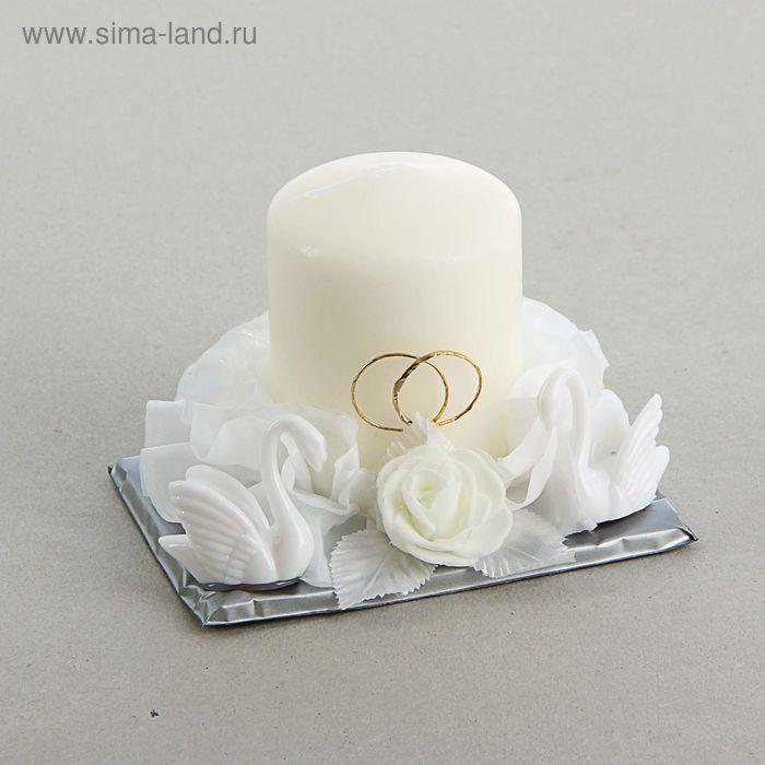 Свеча свадебная с лебедями, цвет белый