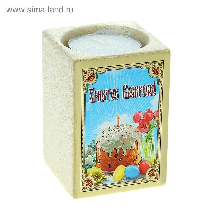 """Пасхальный подсвечник со свечой """"Х.В."""""""