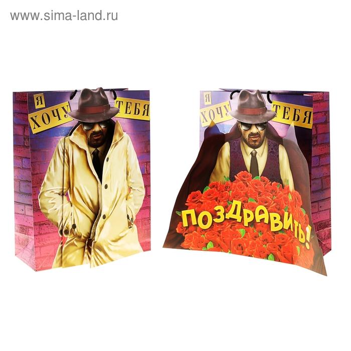 Пакет ламинат с открыткой «Мужик в пальто», MS 18 х 23 х 8 см