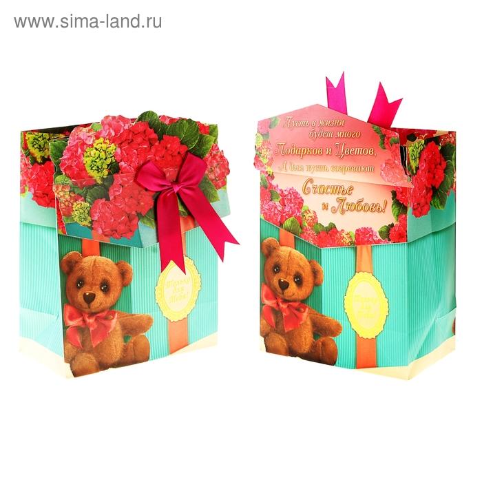 Пакет ламинат с открыткой и тиснением «Подарок», 29 х 37 см