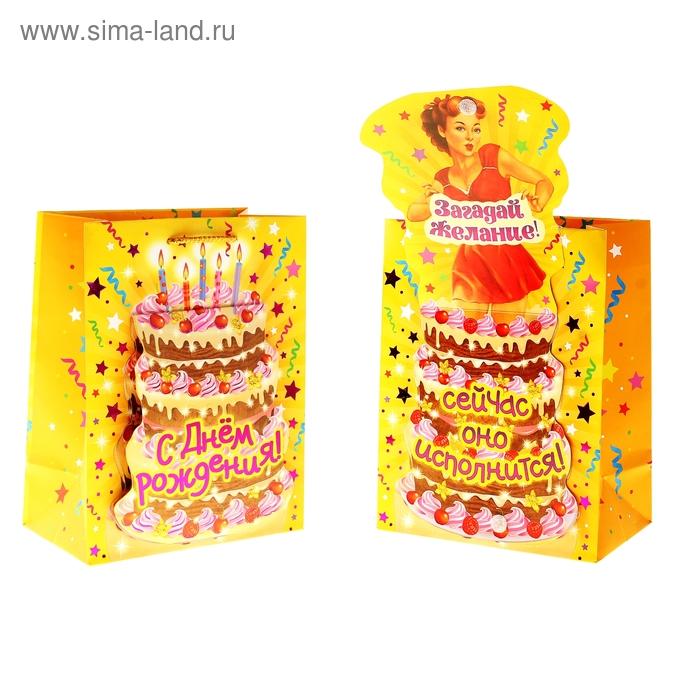 """Пакет подарочный с открыткой """"С Днем Рождения"""" (тиснение)"""