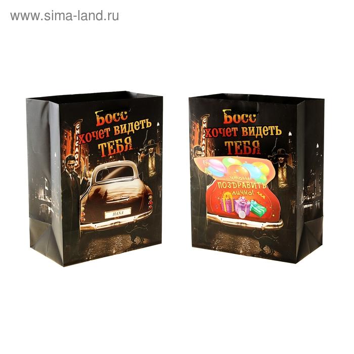 """Пакет ламинат с открыткой (ламинация) """"Босс"""""""