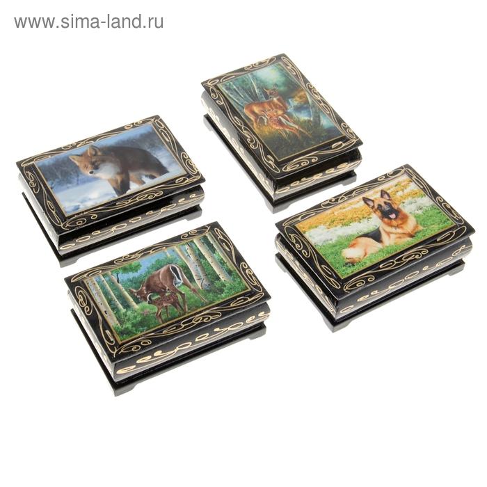 Шкатулка лаковая миниатюра 6х9 см Животные микс