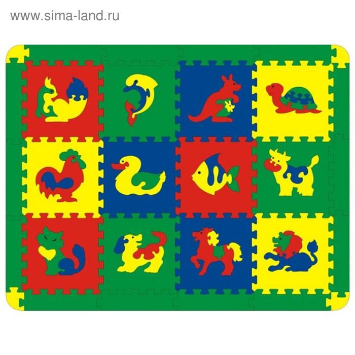 Мягкий развивающий коврик с животными, 12 элементов