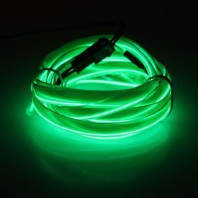 Неоновая нить для подсветки салона, плоская, 12 В, 2 м, с источником питания, зеленая