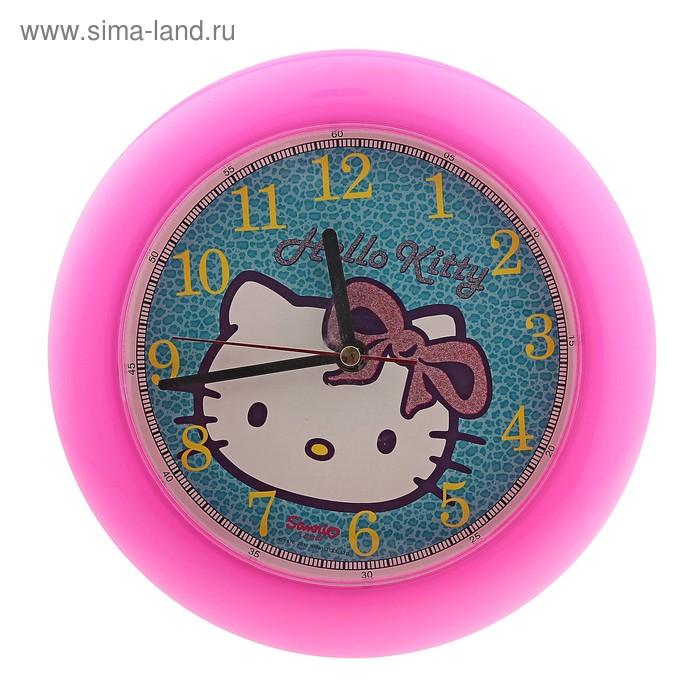 """Часы настенные круглые """"Hello Kitty"""", детские, фуксия"""