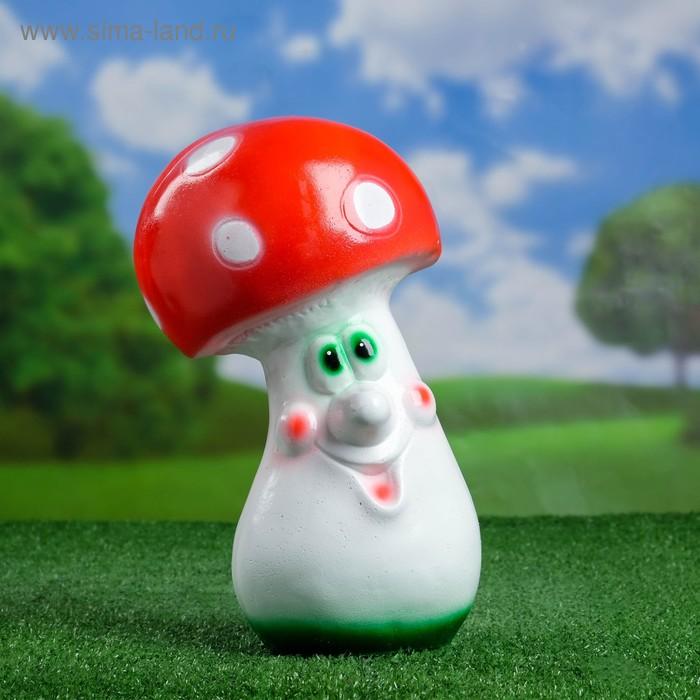 """Садовая фигура """"Мультяшный мухомор"""" большая, круглая шляпка"""
