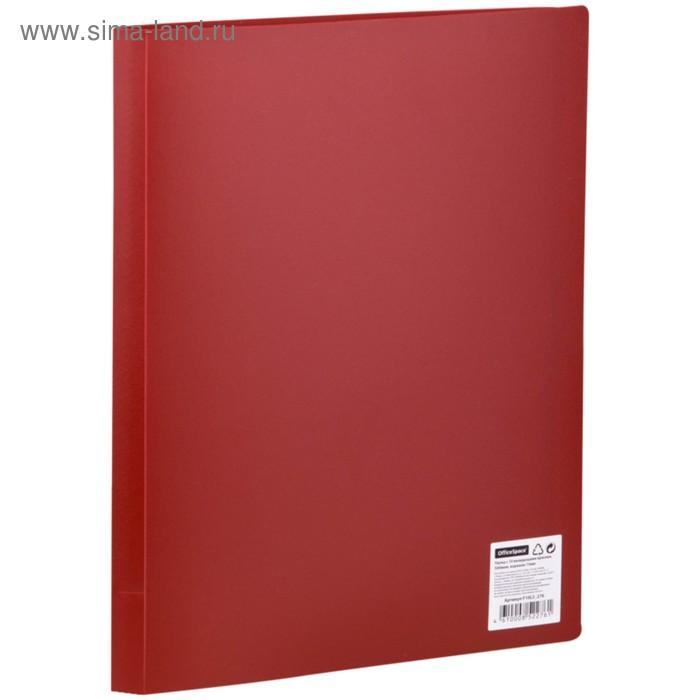 Папка с 10 прозрачными вкладышами А4, 500мкм, красная