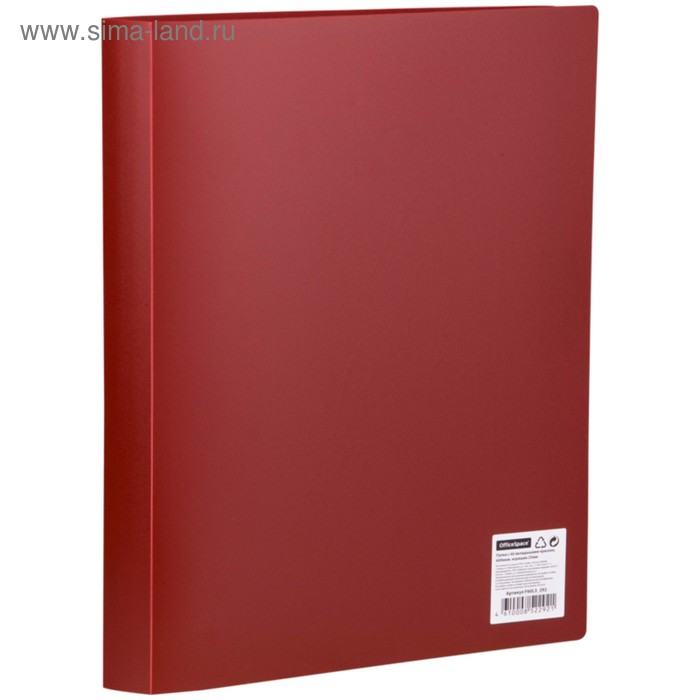 Папка с 60 прозрачными вкладышами А4, 600мкм, красная