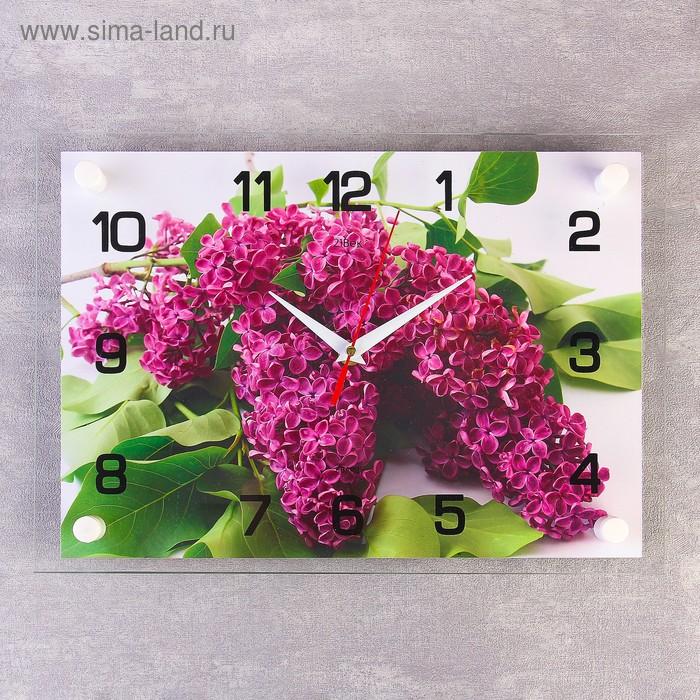 """Часы настенные прямоугольные """"Веточка сирени"""", 25х35 см"""