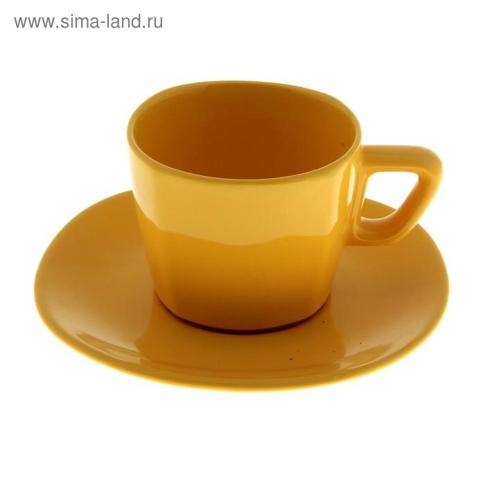 Набор чайный, 2 предмета: чашка 200 мл, блюдце, желтый, квадратный