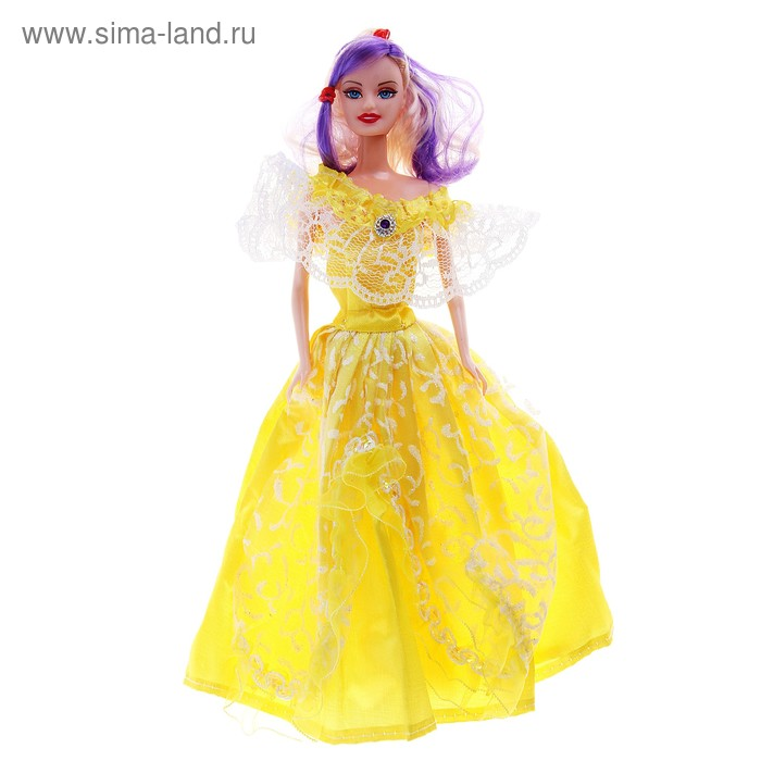 """Кукла """"Красотка"""", в кружевном бальном платье с цветными волосами, цвета МИКС, 33 см"""