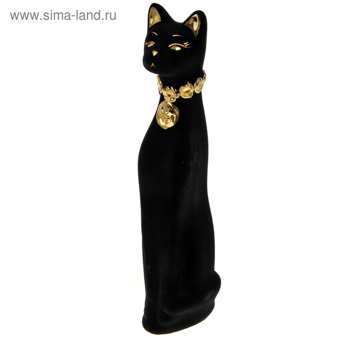 """Копилка """"Кот"""" средняя, флок, доллар, чёрная"""