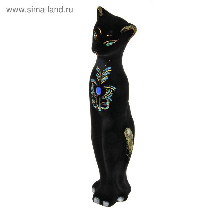 """Копилка """"Кошка Багира"""" большая, флок, чёрная"""