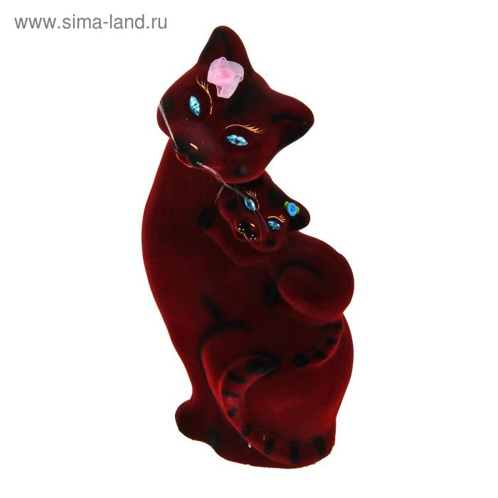 """Копилка """"Кошка с котёнком"""" флок, бордовая"""